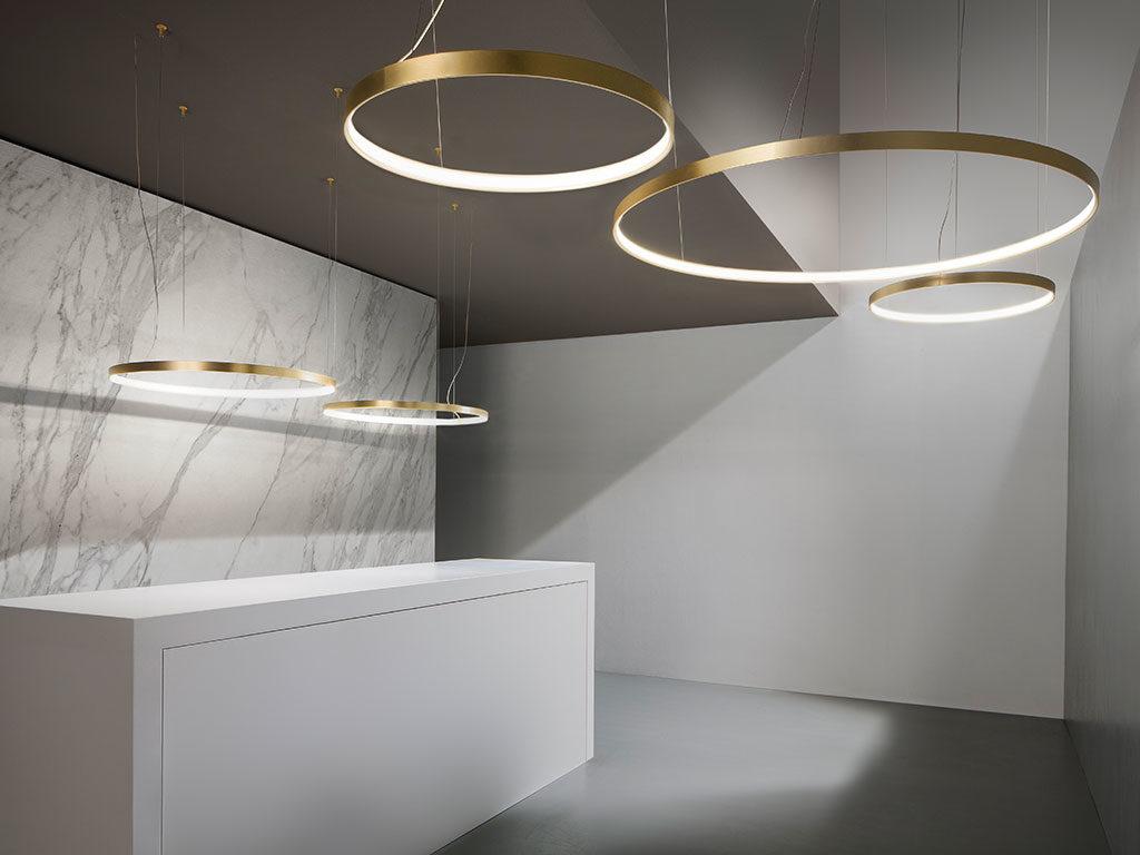 lampada sospensione round oro