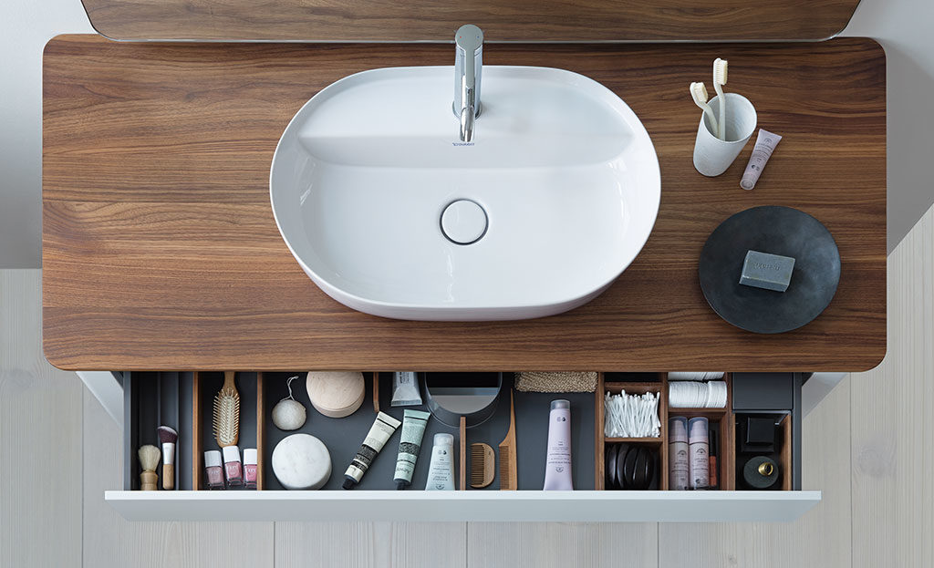 lavabo appoggio top legno
