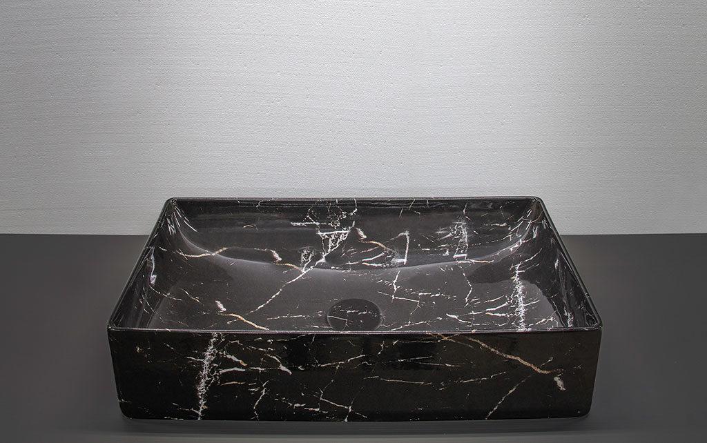 lavabo rettangolare pietra scura