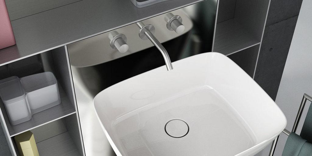 lavabo appoggio e mobile bagno