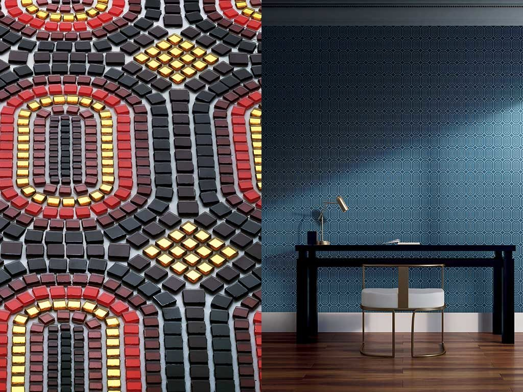 mosaico gold rosso blu