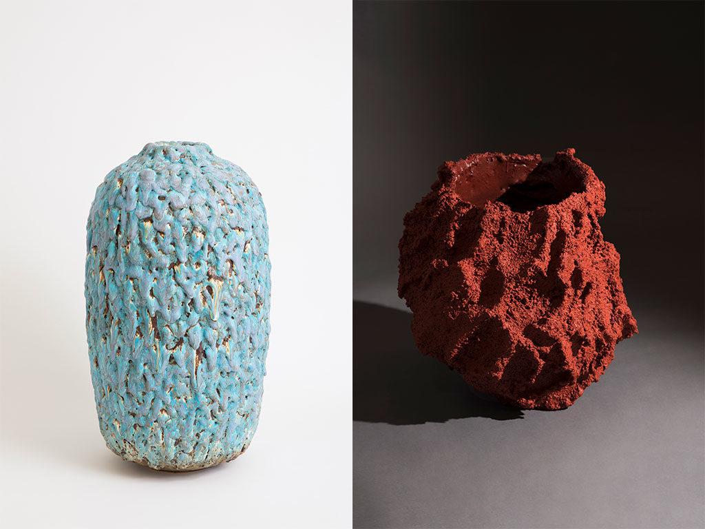 vasi design rosso cratere acquamarina