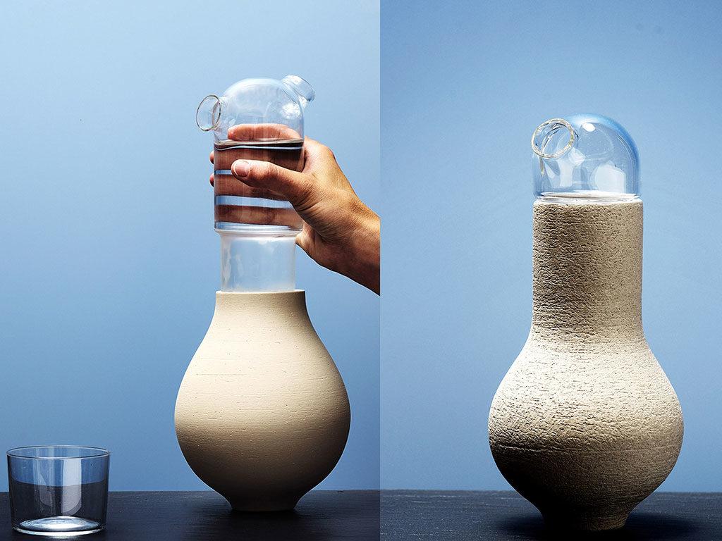vasi con bottiglia vetro integrata
