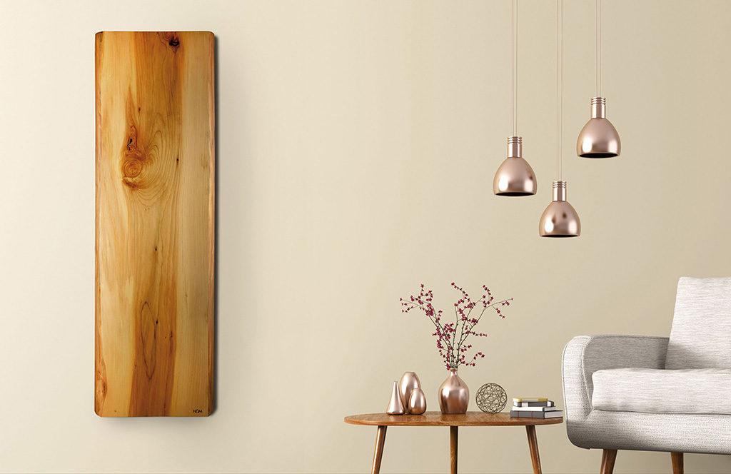 radiatore legno parete living