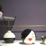 ceramiche bianco e nero vaso testa