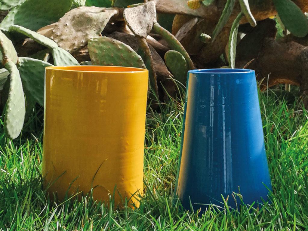 ceramiche giallo e blu