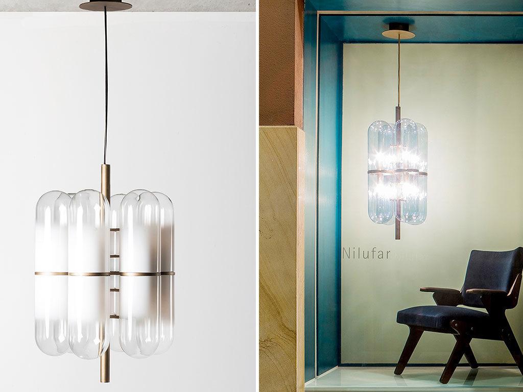 lampada sospensione vetro e ottone