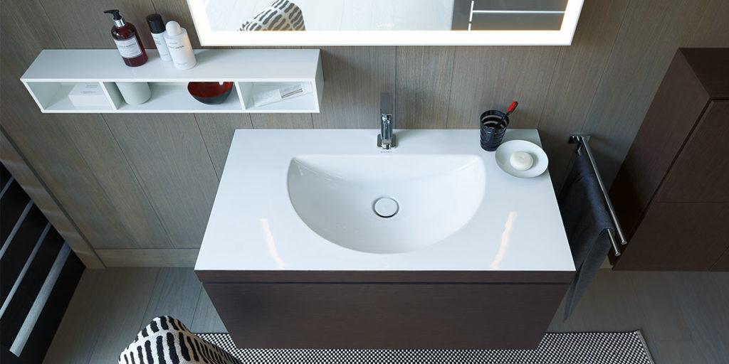 lavabo ceramica incasso mobile bagno legno