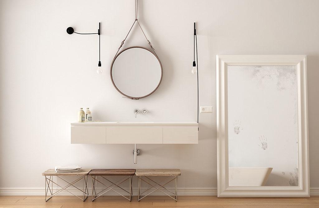 specchi in bagno tondo e rettangolare