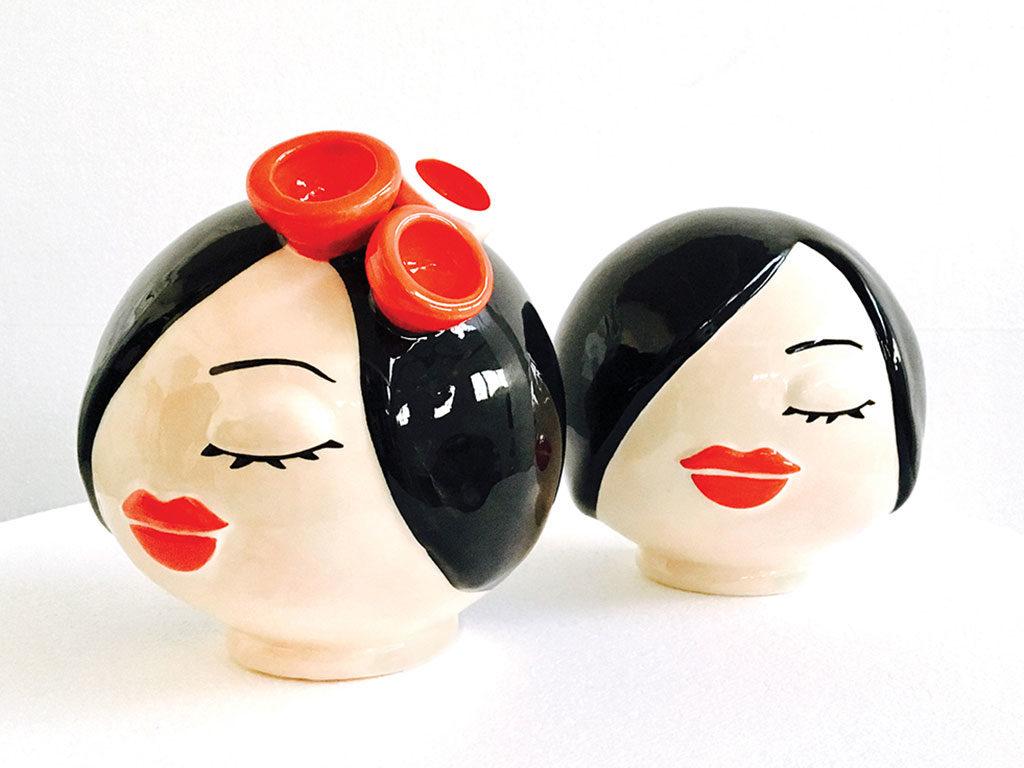 vaso testa ceramica colorata
