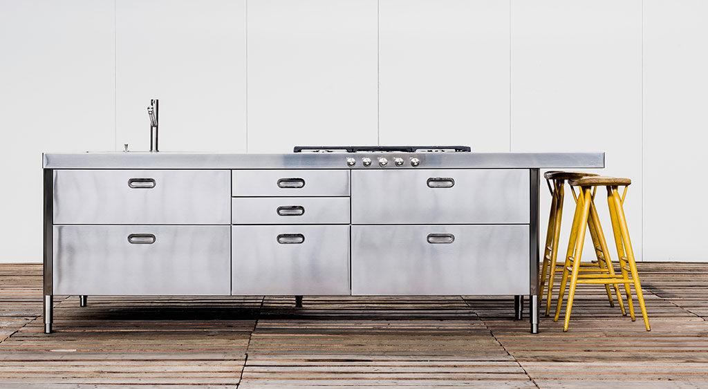 cucina acciaio satinato industrial