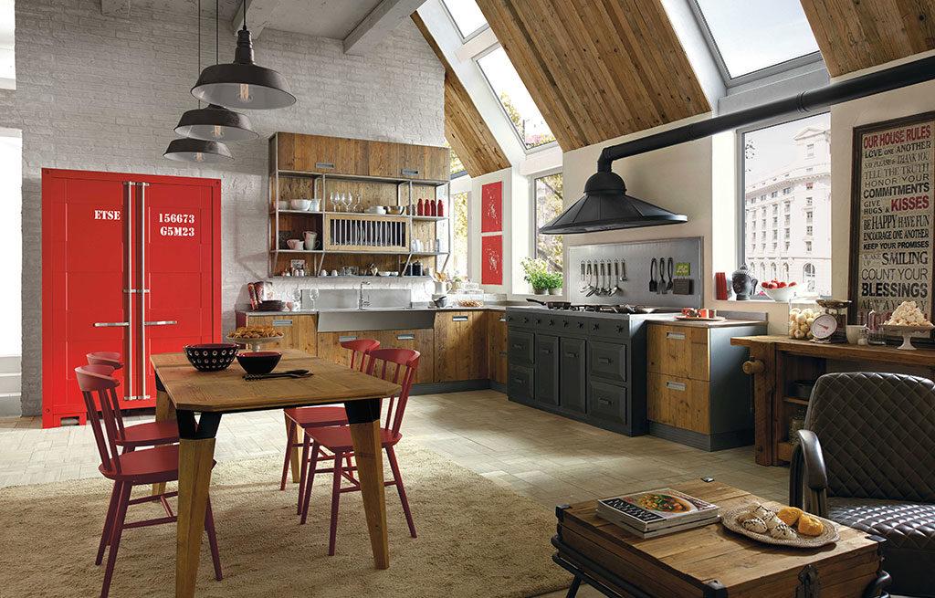 cucina industrial legno