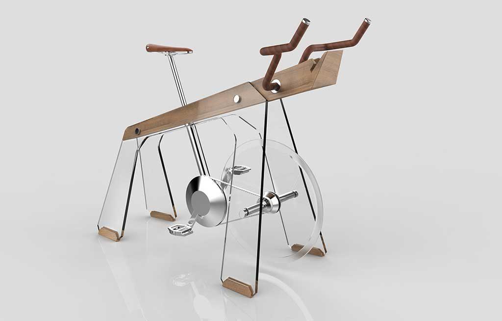 cyclette design legno vetro acciaio