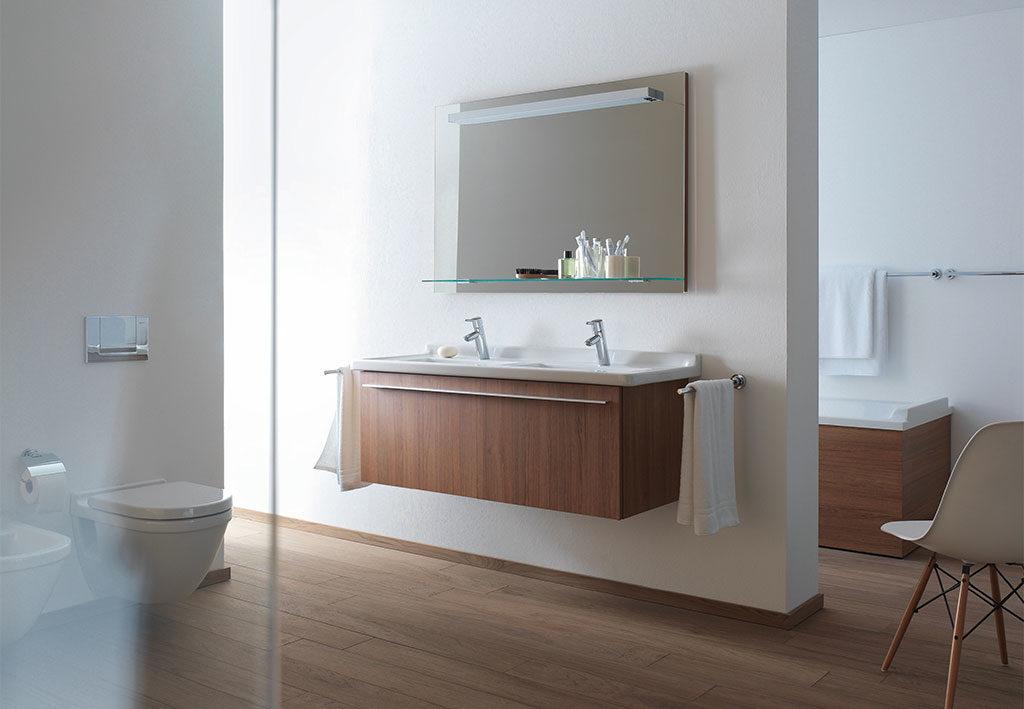 mobile sospeso bagno legno doppio