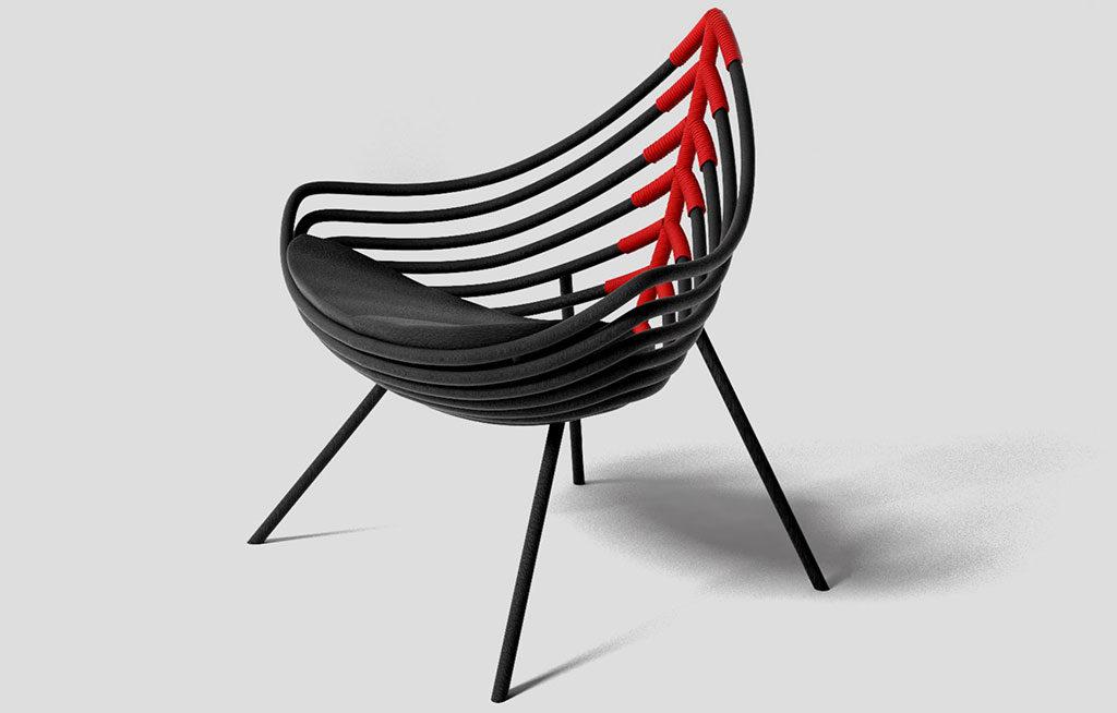 armchair nero rosso