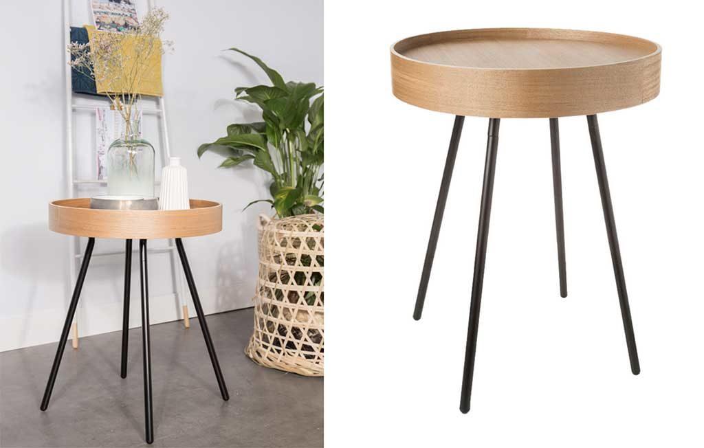 tavolino vassoio legno e metallo