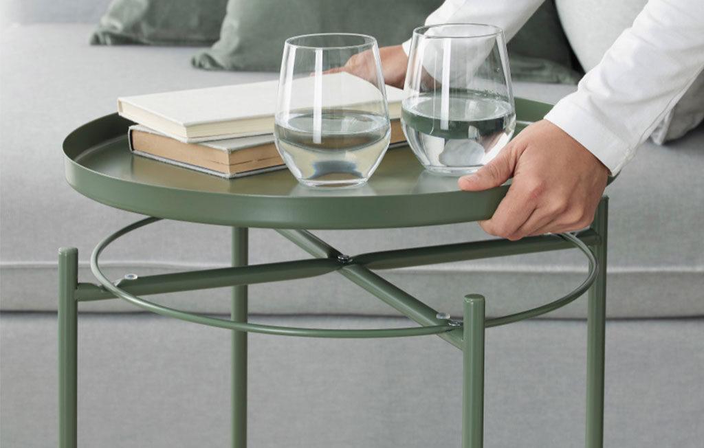 tavolino vassoio verde oliva