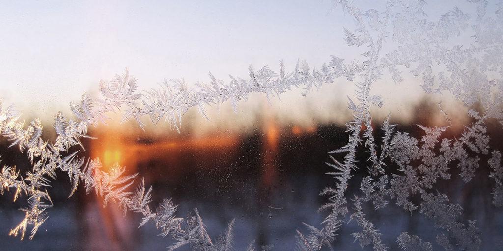 ghiaccio vetro finestra tramonto