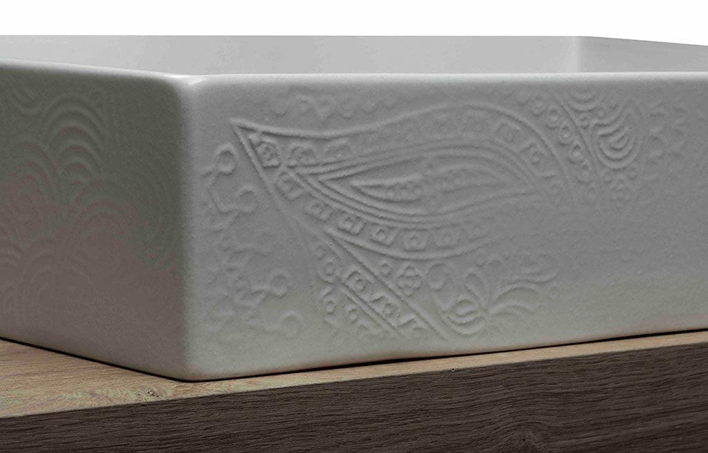 ceramica lavabo decoro rilievo