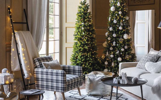 living con addobbi natalizi albero