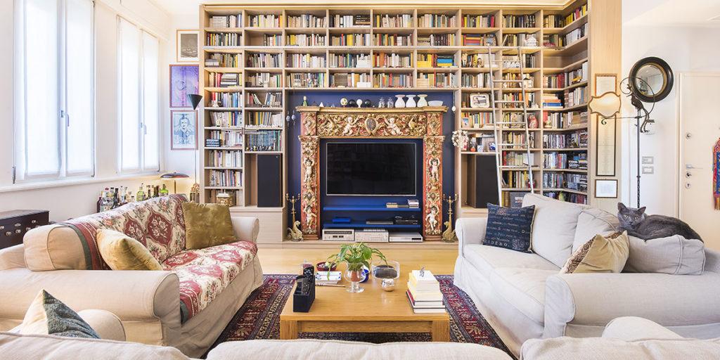 living libreria casa ristrutturazione