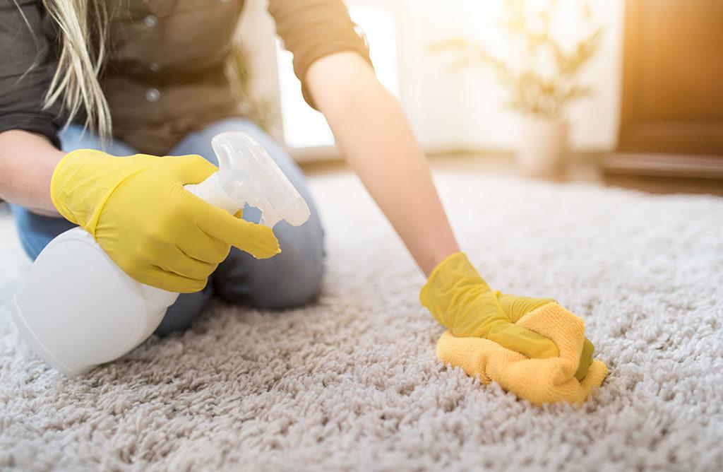 donna pulizia tappeto a mano