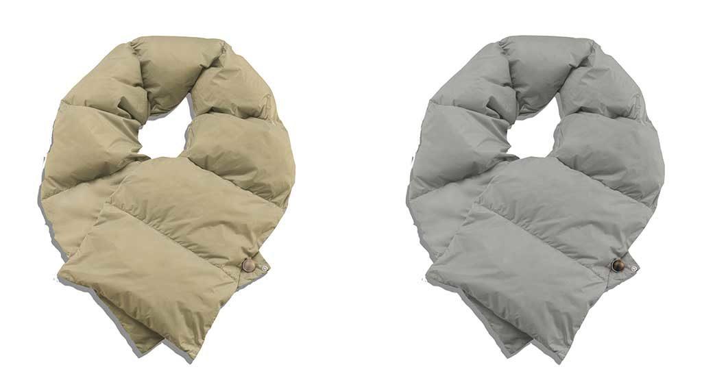 sciarpe di piumino tortora e grigio