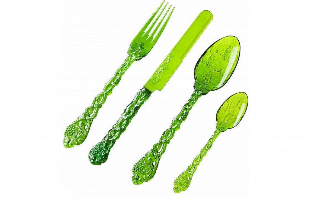posate plastica verde
