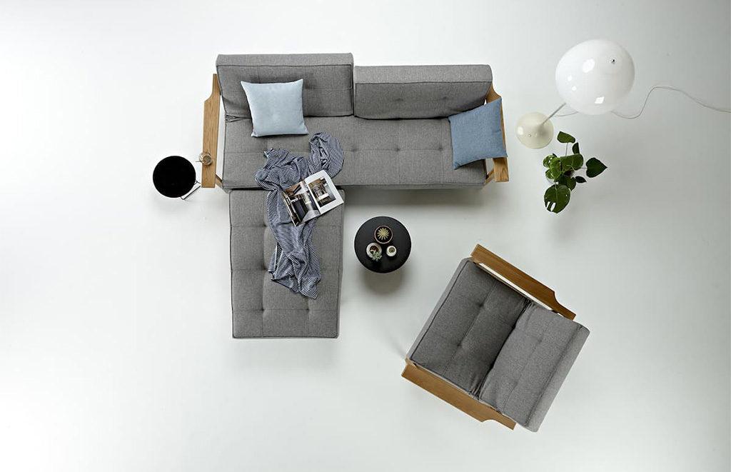 divano penisola e poltrona grigio