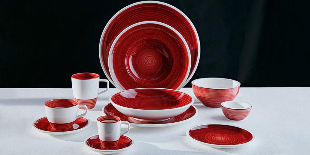 piatti ceramica bianco rosso