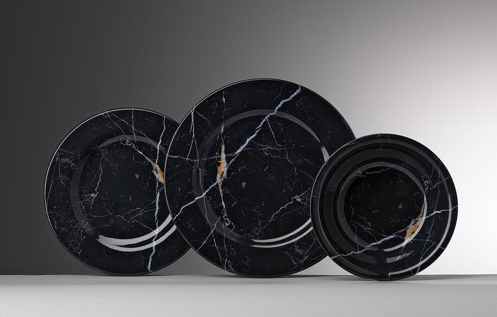 piatti melamina marmo nero