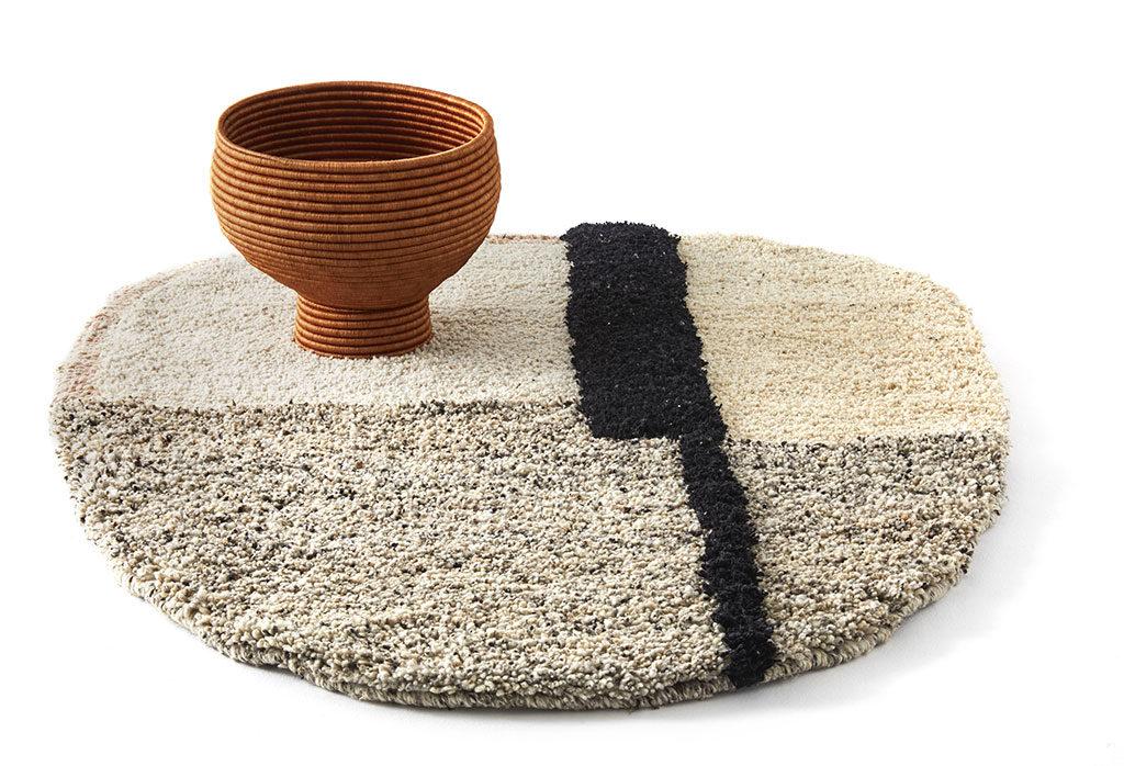 tappeto tondo tessuto chiaro design