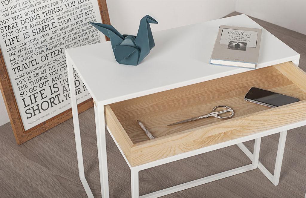 tavolinetto metallo bianco e legno