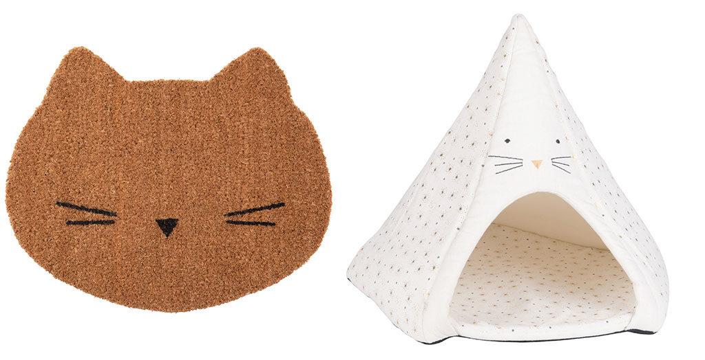 zerbino gatto e cuccia tenda