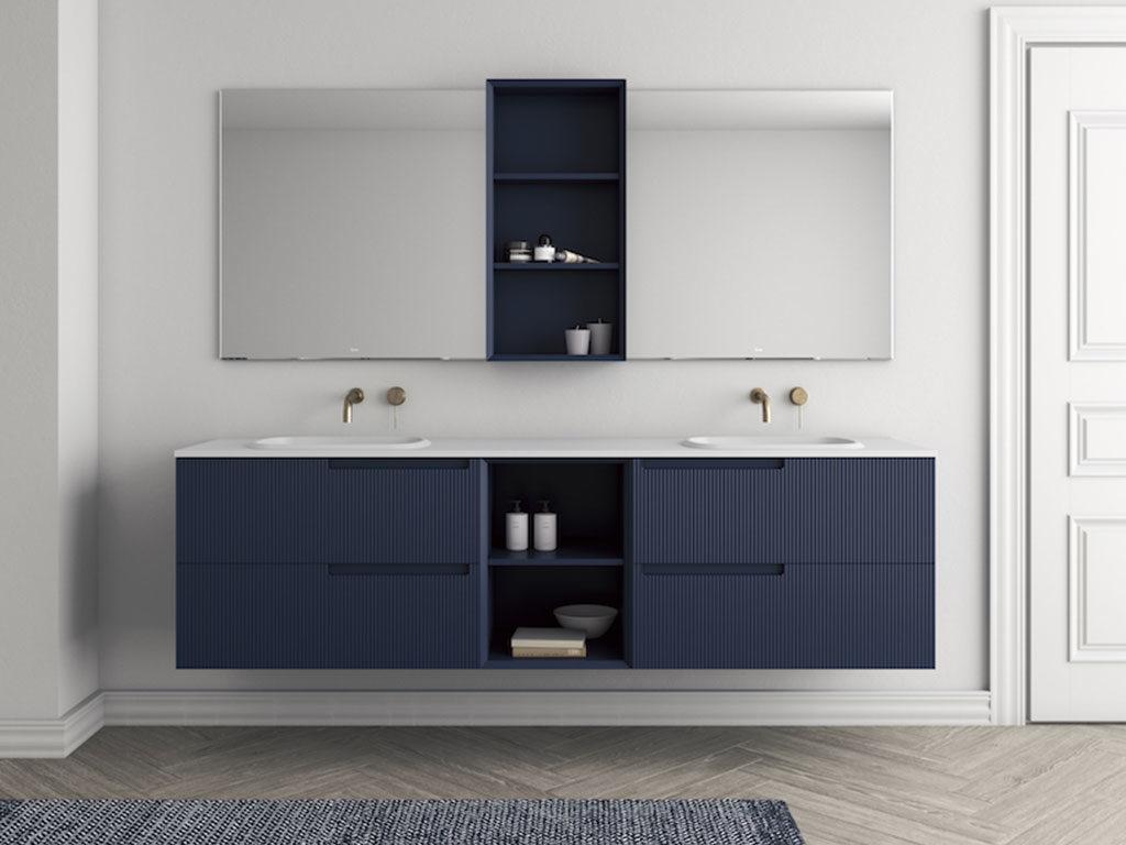 mobile bagno sospeso blu doppio lavabo
