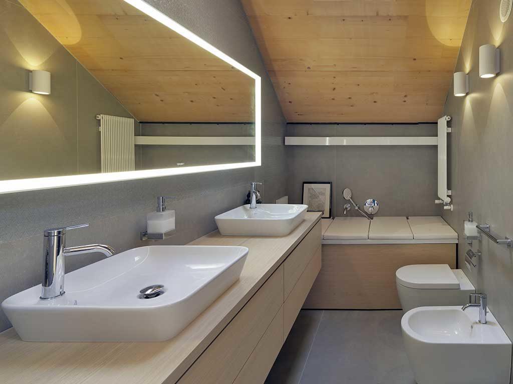 bagno sottotetto casa passiva