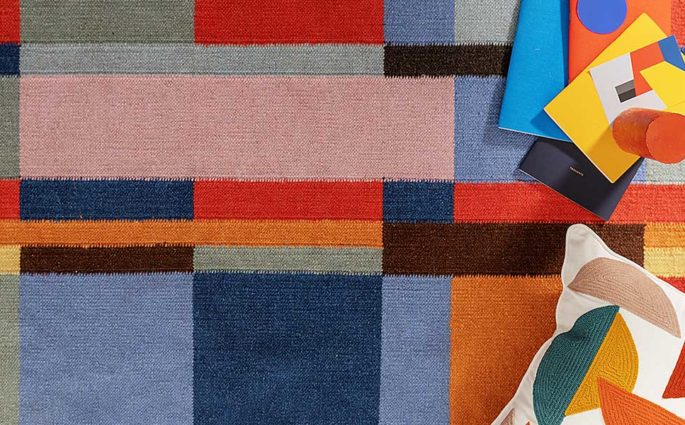 cuscino e tappeto colore bauhaus