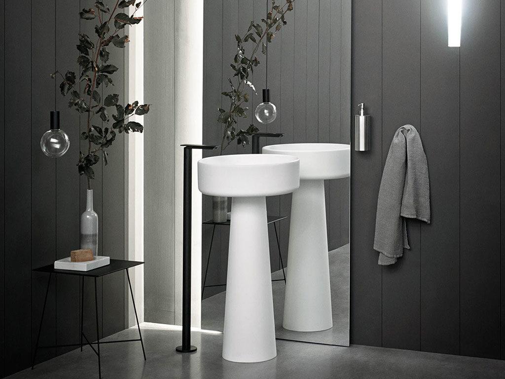 lavabo colonna a terra bianco