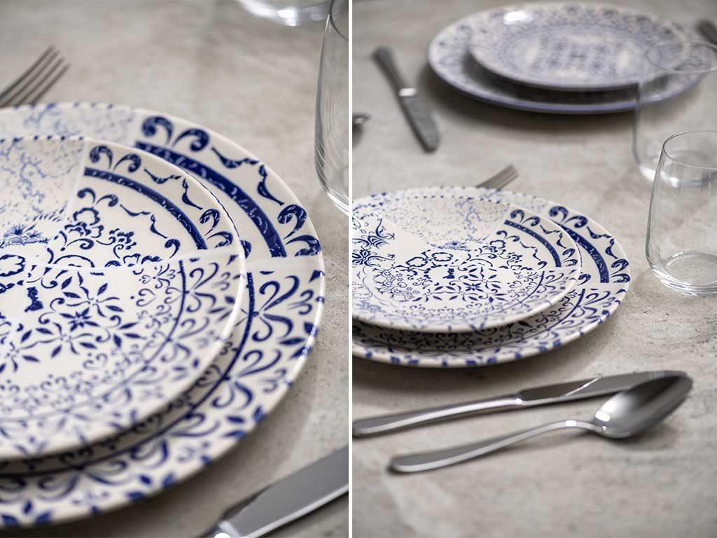 servizio piatti vintage bianco e blu