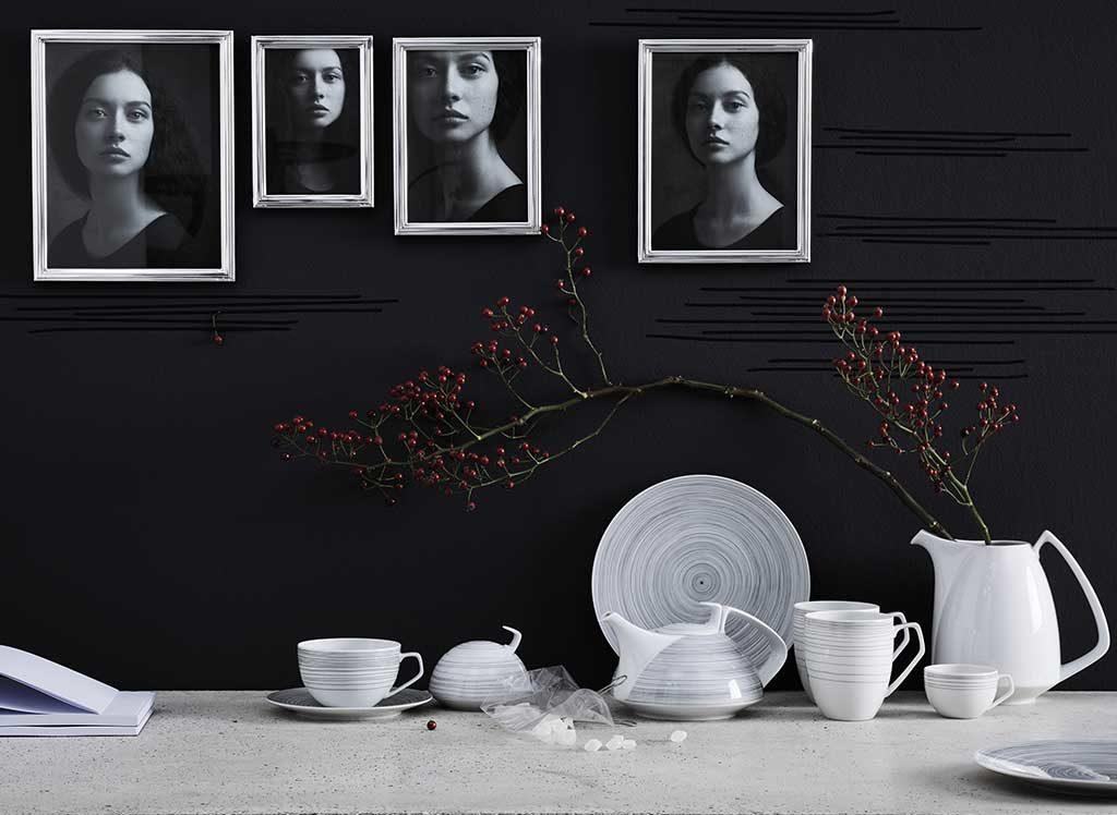 servizio porcellana stripes bianco e nero