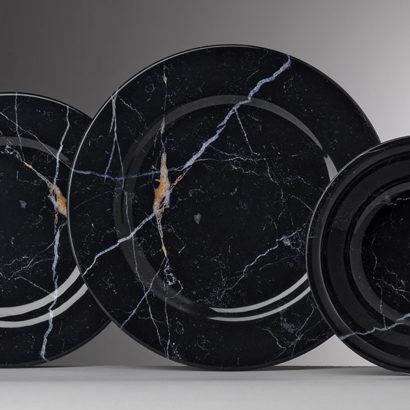 set piatti melamina effetto marmo nero