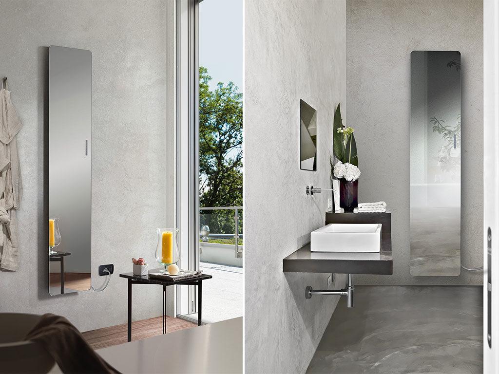 specchio radiante bagno verticale