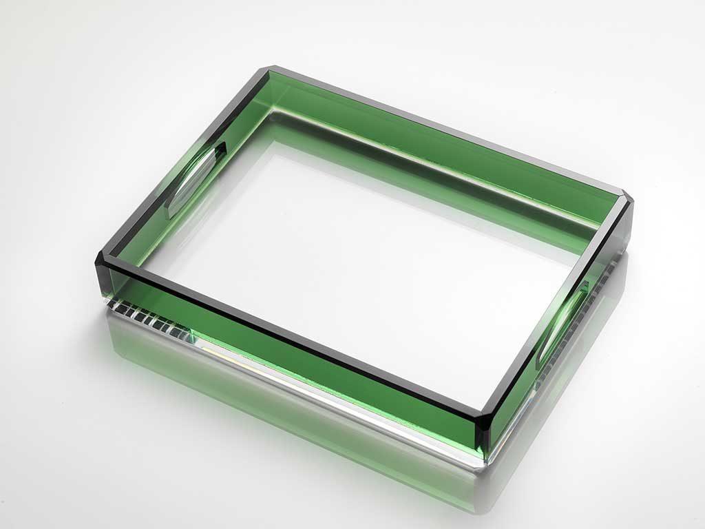 vassoio cristallo sintetico colore verde