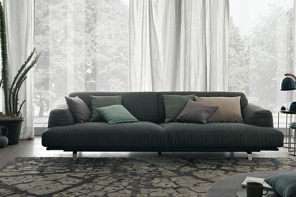 divano tessuto verde imbottito