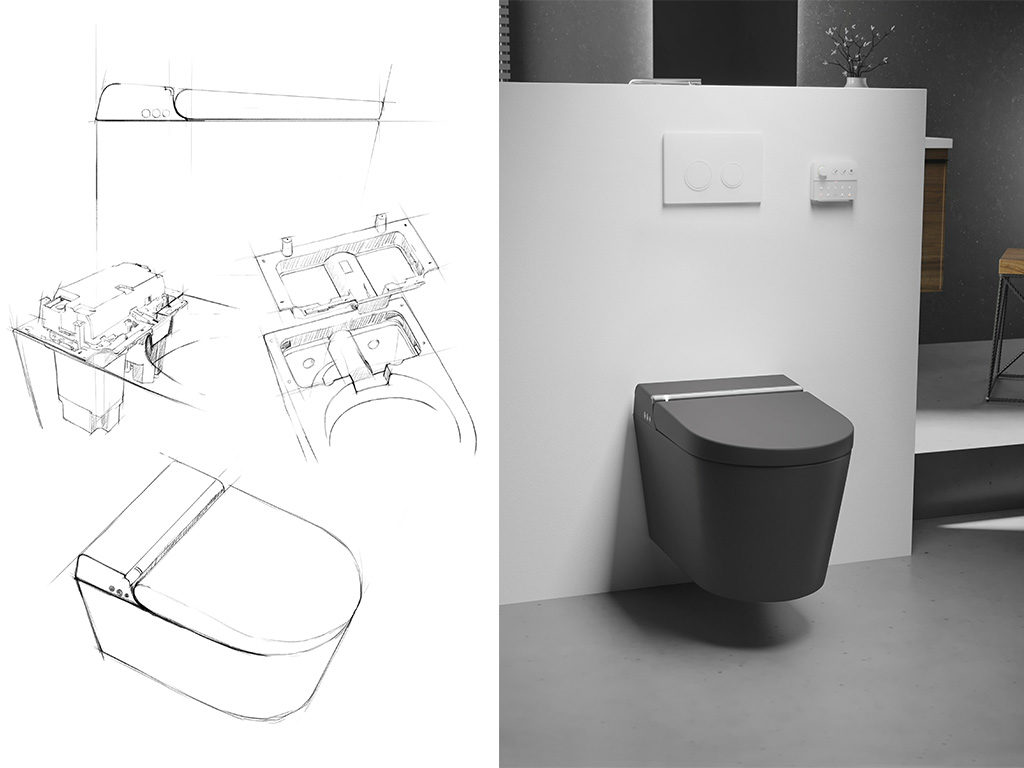 smart toilet nero sospeso bagno