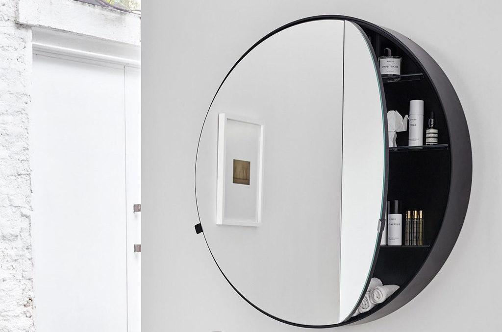 specchio contenitore bagno rotondo
