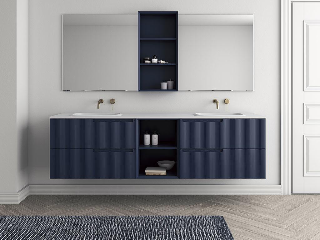 Milano design week 2019 arredo bagno di fiora la casa for Mobile bagno blu
