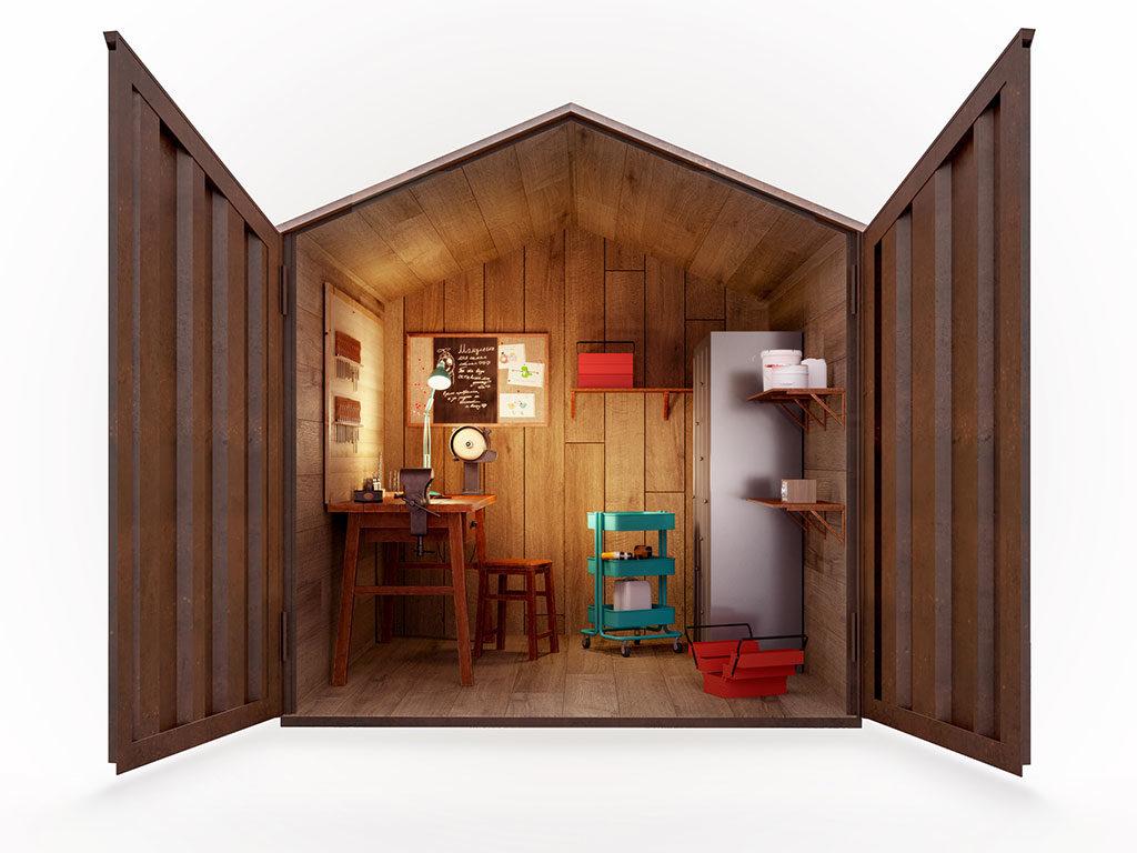 casetta giardino interno legno
