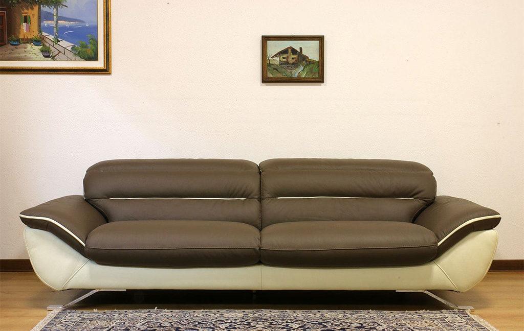 divano pelle bicolore