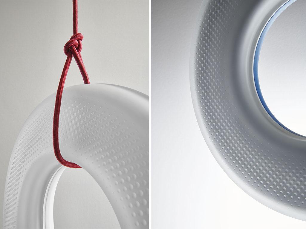 lampada cerchio vetro stampato